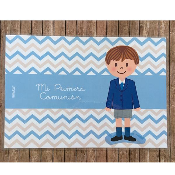 Mantel comunión Niño azul